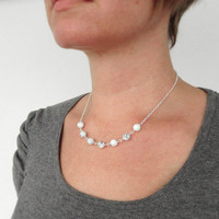 White stone necklace elegant chain necklace howlite stones women