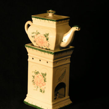 Vintage Hand Painted Victorian Themed Tea Tower or Warmer with Lovely Pink Rose and Green Trim - A Must for the Shabby Chic Home!