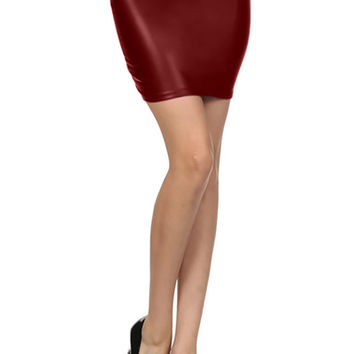 Fitted Leather Bodycon Mini Skirt