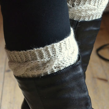 White cable knit boot cuffs,  boot warmers, leg warmers, women clothing, accessories,