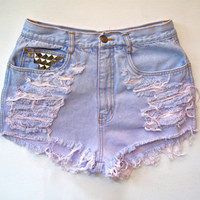 High Waist/ Studded & Destroyed/ Light blue and by RomaniRose