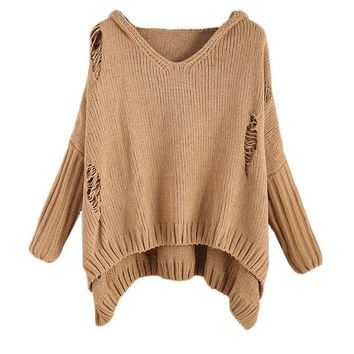 SheIn Khaki Ripped Womens Sweaters Fashion Autumn Women Oversized High Low Loose Hooded Casual Knitted Sweater