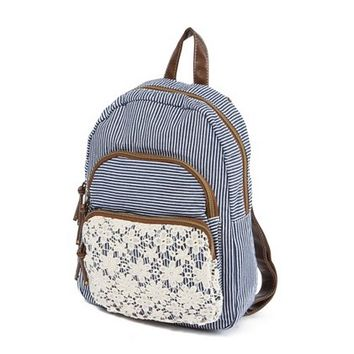 Striped Backpack with Floral Crochet Detail | Claire's