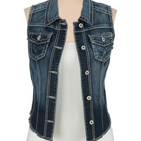 Dark Wash Denim Vest With Fray Hem - Dark Sandblast