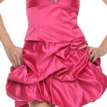 ON SPECIAL - LIMITED STOCK - Short Fuchsia Bubble Skirt Party Dress Sequin Ruch Satin Above Knee