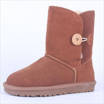 """UGG"" Women Fashion Wool Snow Boots Calfskin Shoes A button Chestnut"