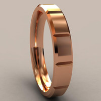 Rose Gold Thin Disigner 4mm Mens Wedding Band with Clean & Sharp Lines, Classic 14kt Pink Gold Wedding Ring, Thin Mens Wedding Ring