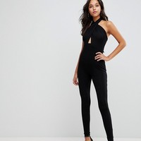 ASOS Jersey Jumpsuit with Cross Front and Skinny Leg at asos.com