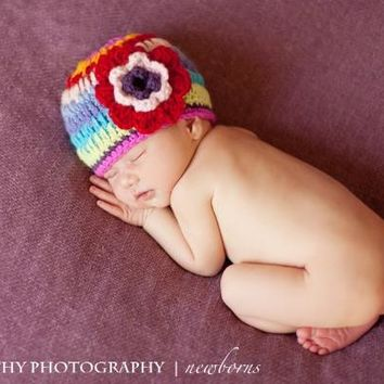 Bailey Rainbow Crochet Beanie with Flower Hat (sz 0-6mo )