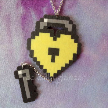 Heart Lock & Key Necklace - Perler Bead Jewelry