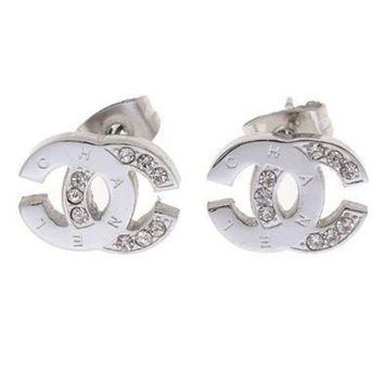 Chanel Popular Ladies Logo Diamonds Stud Earring+Best Gift I