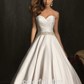 Sexy Beaded Sash Satin Garden Sweeping Brush Bridal Gowns Sweetheart Wedding Dresses New Arrival 2015