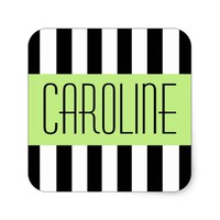 Fashionable stripes green panel personalized name square sticker