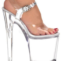 7 9/10'' High Heel Clear Buckle PVC Sexy Sandals