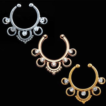 Fashion fake septum / Medical Titanium For Women fake nose ring / Clip Hoop Body Piercing
