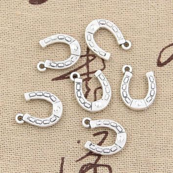 30pcs Charms Lucky Horseshoe Horse 15*12mm Antique Pendant Fitvintage Tibetan Silverdiy For Bracelet Necklace