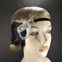 1920s Flapper Headpiece Silver Great Gatsby Headband Lady Mary Wedding Party Black Feather Silver Beaded Fascinator