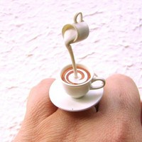 Tea Ring Miniature Food Jewelry Floating Ring Tea With Cream