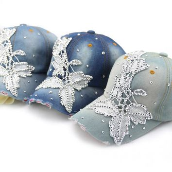 2014 new Retail Diamond Point flower print denim caps women baseball cap adjustable Rhinestones unisex hats Free shipping