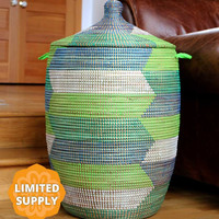 Large African Basket with Lid - Green & Blue