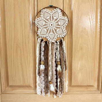 Boho Dreamcatcher, OOAK, Brown, Cream, Vintage Doily, Wedding Decor, Home Decor, Nursery Mobile, Earth Tones,