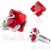 2mm Red Prong Set Square Gem Dermal Top | Body Candy Body Jewelry