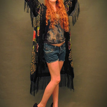Silk velvet kimono / long black fringed jacket in peacock design / Sheer devore duster opera coat /  Boho piece / gypsy queen