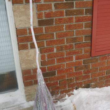 White Handfasting Broom for Pagan Wedding,  Wiccan Wedding, Jumping the Broom, Pagan Handfasting Besom, Wiccan Handfasting Ceremony
