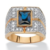 Men's 4.06 TCW Emerald-Cut Genuine Midnight Blue Sapphire 14k Gold-Plated Ring