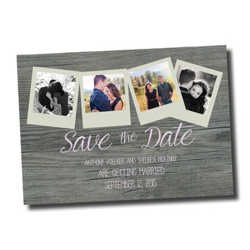Personalized Digital File: Save the Date- Country, Photos, Pink
