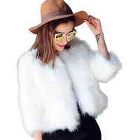 2017 Women Jacket Faux Fur Coat Soft Fur Coat Jacket Fluffy Jackets Winter Waistcoat Outerwear Black white Solid