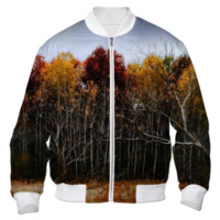 Red and Yellow Fall Trees Bomber Jacket created by Blooming Vine Design   Print All Over Me