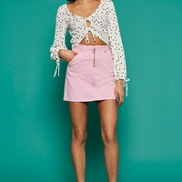 MOTO Pink Half Zip Denim Skirt - New In Fashion - New In