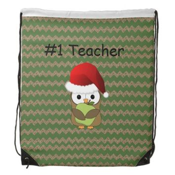 #1 Teacher Christmas Santa Owl Drawstring Backpack
