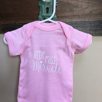Little Miss Miracle Baby Girl Onesuit | Miracle Baby | Baby Girl Onesuit | Newborn Onesuit | Baby Shower Gift