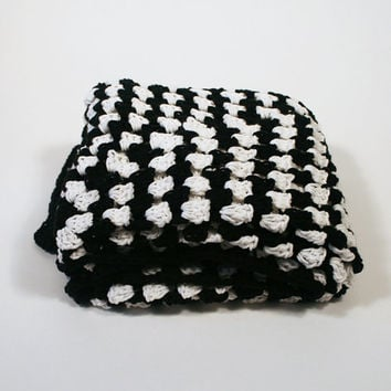 Afghan Crochet Blanket - Black and White Granny Square Full Large