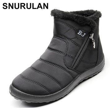 SNURULAN  2018 New Women Winter Snow Shoes Ankle Boots Warm Plush Antiskid Bottom Thermal Waterproof women Ski Boots Size 35-43