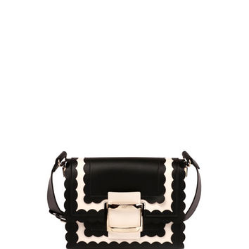Roger Vivier Viv Mini Scalloped Shoulder Bag, Black/White
