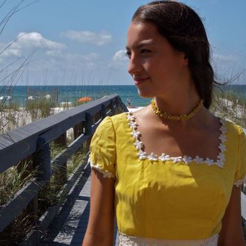 Vintage Yellow Maxi Dress Daisy Trim 60's Romantic Boardwalk Edwardian Style Square Neck
