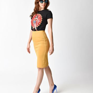 Vintage Style Mustard Stretch Knit High Waist Pencil Skirt