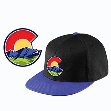 Colorado Flag Hat - C LOGO - Blackwith Blue Flatbill Hat - Colorado Shirt