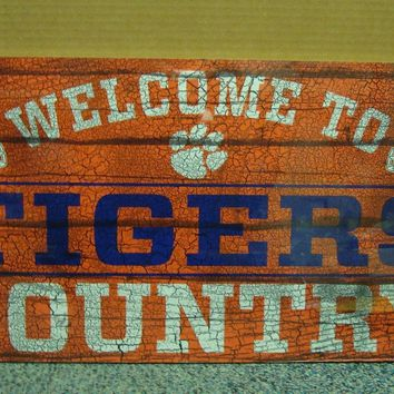"CLEMSON TIGERS WELCOME TO TIGERS COUNTRY WOOD SIGN 13""X24'' NEW WINCRAFT"