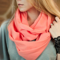Coral Gauze Infinity Scarf, Pink Cotton Scarf, Lightweight Soft Scarf, Spring Accessory Women, Boho Scarf