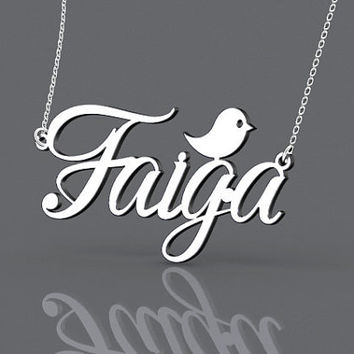 1 inch sterling silver name monogrammed necklace with bird -- personalized name monogram necklace