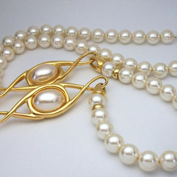 Napier Faux Pearl Necklace Gold Tone Infinity Eye Shaped Accents - Vintage Signed Napier Long Necklace Foldover Fold Over Clasp
