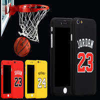 New Sports Basketball 360 Case Coque For iPhone 6 6s 7 7 Plus Kobe Bryant Curry Michael Jordan Hard Full Body Case Cover Fundas