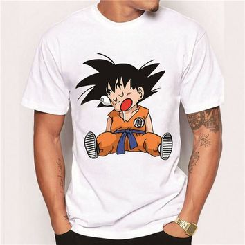 2017 Men's Clothes Fashion Japan Anime Dragon Ball Z T Shirt Super Saiyan Printed shirt Son Goku Tee Hipster Hot Tops