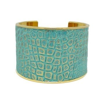 Turquoise Gold Metallic Leather Bracelet Cuff Extra Wide