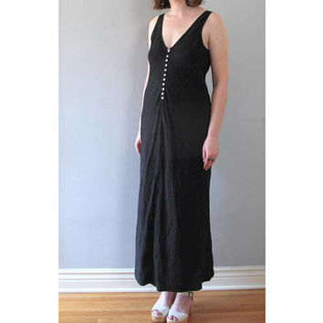 black maxi dress - 80s vintage linen charcoal deep v neck sleeveless button up sexy minimalist grunge sundress goth witch long small medium
