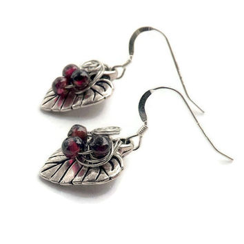 50%OFF SALE Leaf Garnet Earrings  Silver Garnet Dangles Minimalist Jewelry
